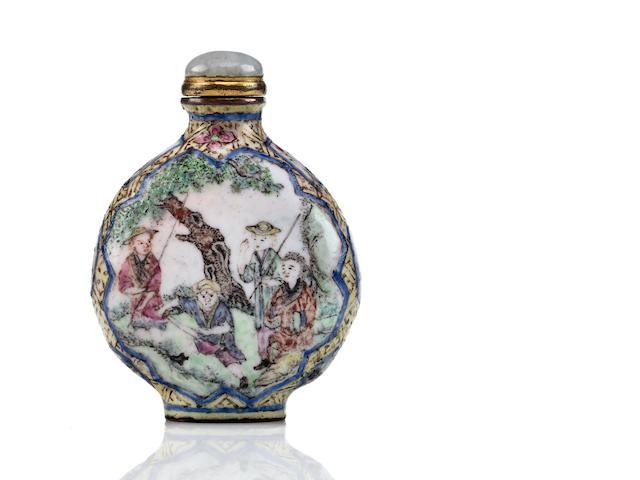 A Canton enamel snuff bottle Qianlong mark