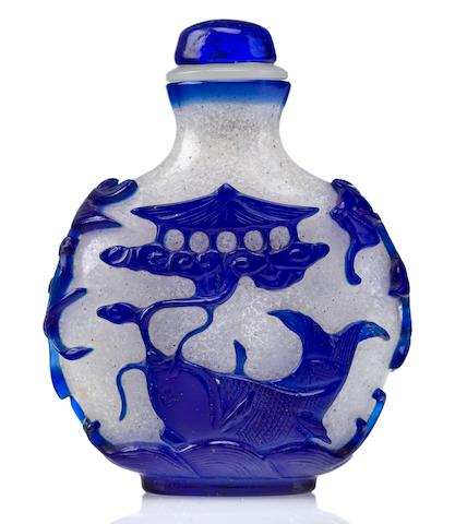 A frosted glass snuff bottle with sapphire blue overlay 1820-1880