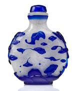 A frost glass snuff bottle with sapphire blue overlay Early 19th century