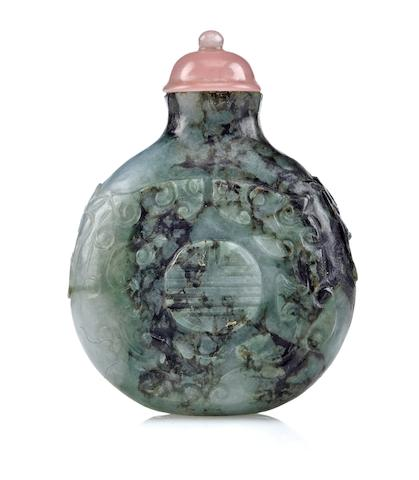 A jadeite snuff bottle with medallion and dragon Late 18th century