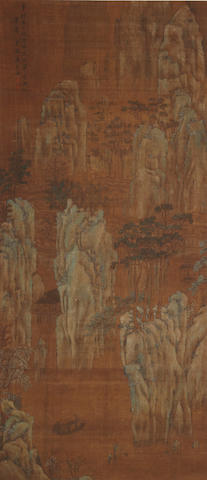 Anonymous Landscape, ink and color on silk, hanging scroll (bearing signature reading Tang Yin)