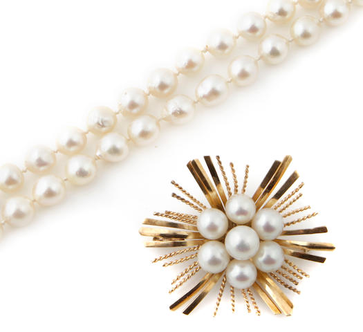 A group of cultured pearl and 14k gold jewelry