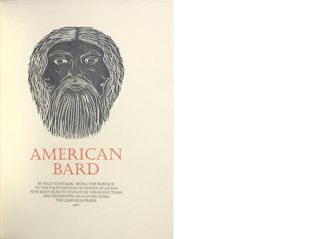 [EVERSON, WILLIAM. 1912-1994.] WHITMAN, WALT. American Bard. Being the Preface to the First Edition of Leaves of Grass, Now Restored to its Native Verse Rhythms and Presented as a Living Poem. [Santa Cruz]: Lime Kiln Press, 1981.<BR />