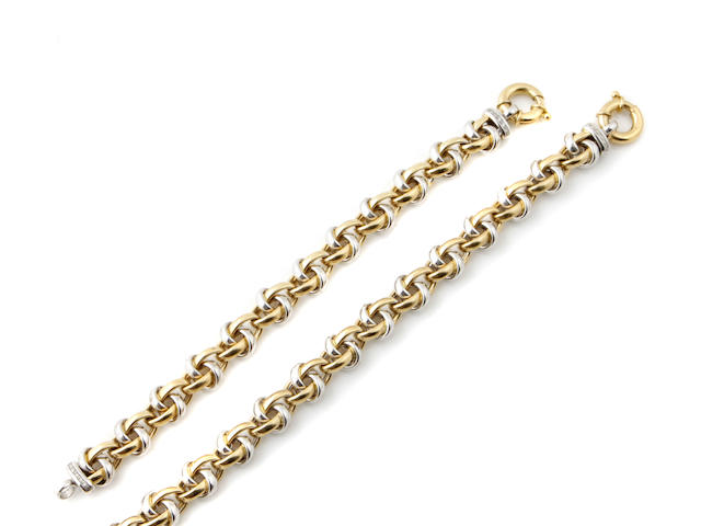 A diamond and bicolor 18k gold necklace and bracelet