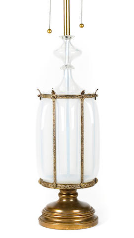 A gilt metal mounted glass table lamp