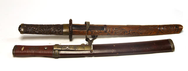A Japanese tanto with a brass kozuka
