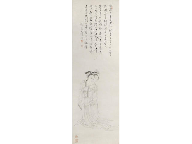 ***FOR INSPECTION*** After Pu Ru 800-1200, r 600. Calligraphy and ink drawing of the Giao Sisters by Pu Tu