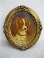 George Jackson (British, active 1830-1864) Portrait of a Cavalier King Charles Spaniel oval 11 3/8 x 9 1/8 in. (29 x 23 cm.)