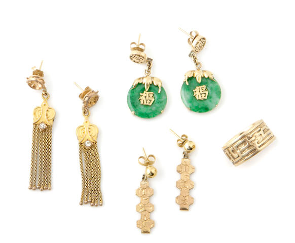 A collection of gem-set, gold and metal jewelry