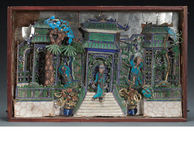 A Chinese king ficher feather shadow box