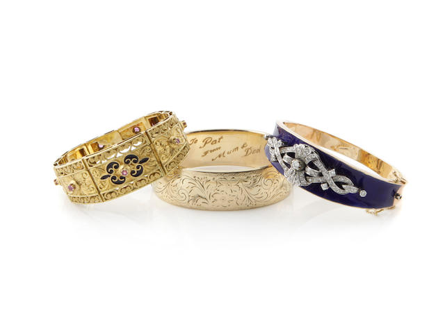 A group of four diamond, gem-set, enamel and gold bracelets