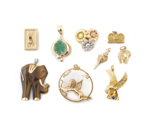 A group of eighteen gem-set, gold and metal pendants