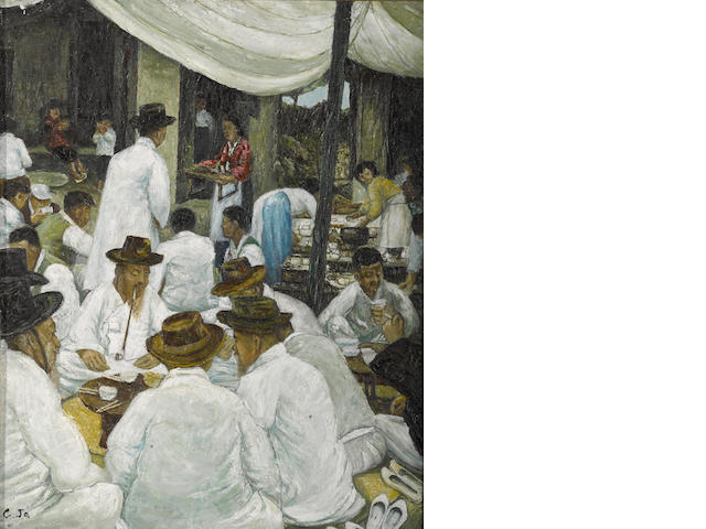 An oil on canvas: C. Ja 'Gathering of Korean scholars'