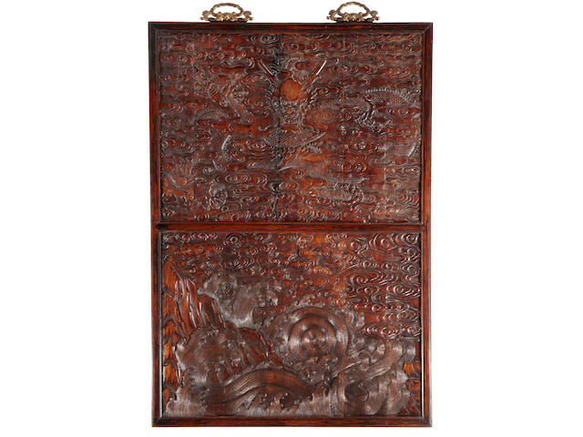 A carved huanghuali hanging plaque Qing dynasty