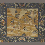 Two Chinese gilt ground kesi panels with warriors in battle scenes, framed and glazed