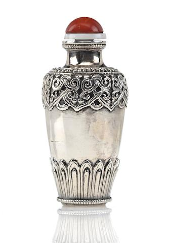 A silver snuff bottle