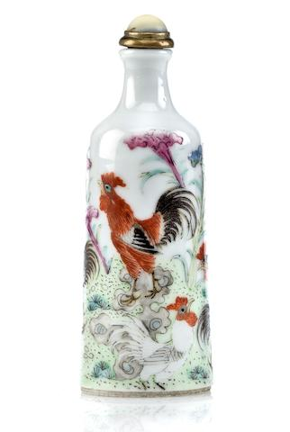 A porcelain snuff bottle with roosters 19th century