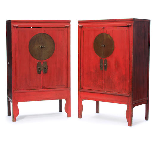 A pair of Chinese scarlet lacquered cabinets