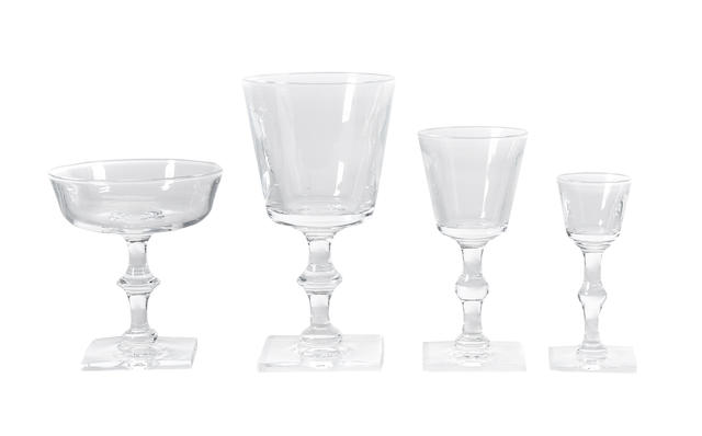 A suite of Steuben glass tableware