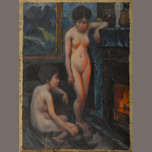 Nudes by fireplace