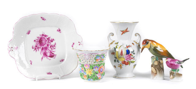 An assembled group of Herend porcelain table articles