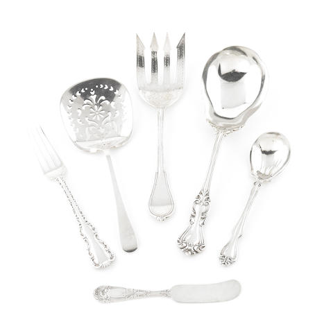 A group of American  sterling silver  flatware 19th - 20th century