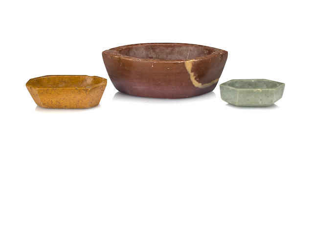 Three stone artist mortars, India, 19th century