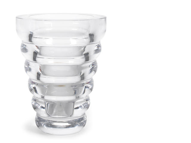 A Kosta Boda clear glass vase designed by Anna Ehrner