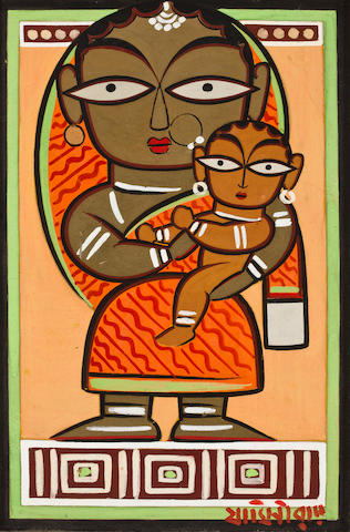 Jamini Roy (1887-1972) Untitled (Mother and Child)