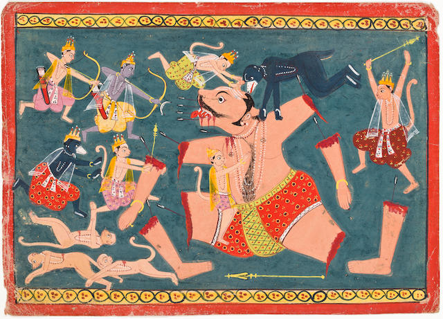 Two illustration to the iRamayanaiRama and Lakshmana destroy XXXXXXX Opaque watercolor and gold on paper Malwa circa 1680