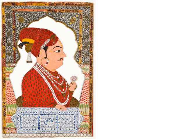 """A double-sided portrait of Maharaja Surat Singh of Uniara Opaque watercolor and gold on card Uniara Early 19th century"""