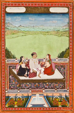 """Prince entertained by courtier opaque watercolor and gold on paper hyderabad, Deccan Late 18th century """