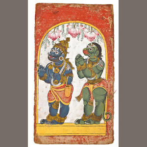 """A double-sided Vishnu series Opaque watercolor on cloth Andhra Pradesh Late 18th century"""