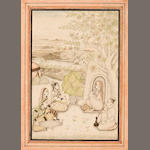 """Musicians entertaining yoginis Ink and wash on paper Lucknow Late 18th century"""