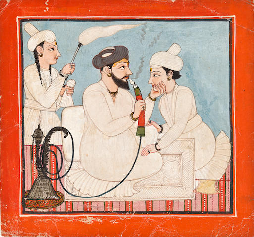 """Portrait of a Raja and price Opaque watercolor on paper Mandi Late 18th centrury"""