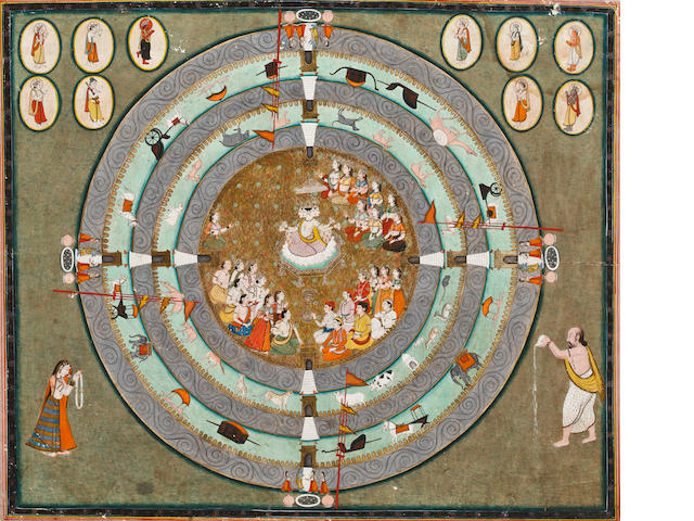 """Worship of Brahma Opaque watercolor and gold on paper Jaipur Circa 1840"""