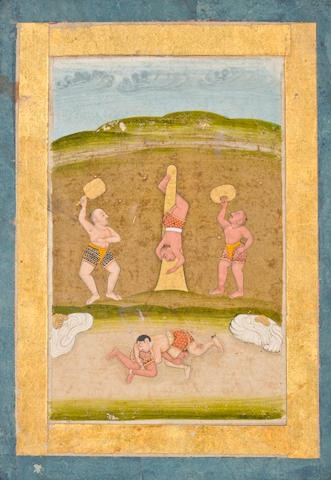 """Illustration to a  iragamala seriesi  iDesakh raginii Opaque watercolor on paper Deccan circa 1760-70"""