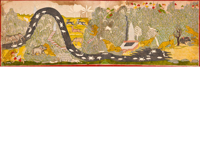 """Tiger hunt Opaque watercolor on paper Kota 19th century"""
