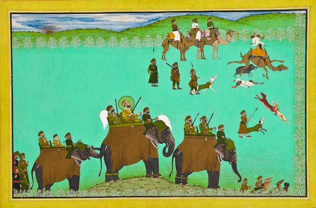 Maharaja Sarup Singh on a boar hunt Signed Tara, Udaipur, circa 1850-60