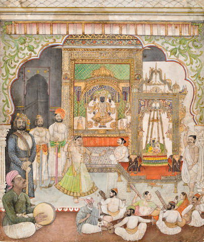 A ruler visiting the shrine of Sri Nathji Nathdwara, circa 1870