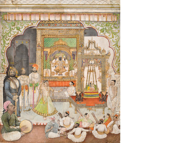 """A Raja and a nobleman offer worhsip Sri Nathji Opaque watercolor and gold on paper Nathdwara Circa 1870"""