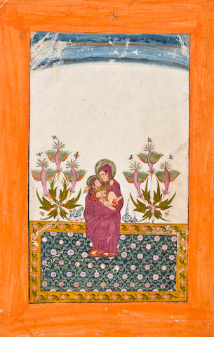"""Virgin with Christ child Opage watercolor and gold on paper Bundi Circa 1740"""