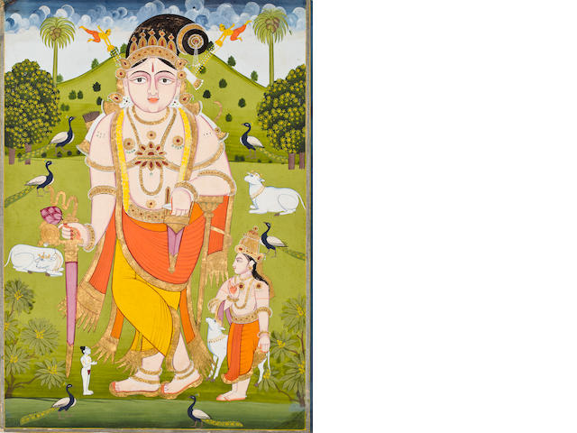 """Vaishnavite deity Opaque watercolor and gold on paper Mathara 19th century"""