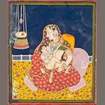 """Mother and child Opaque watercolor and gold on paper Devgarh Circa 1830"""