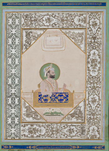 """Maharaja Sarup Singh of Mewar Opaque watercolor and gold on paper Udaipur Dated 1859"""