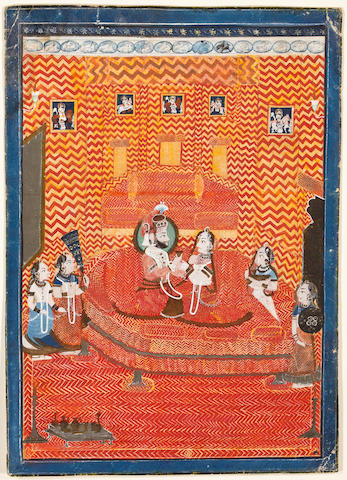 """Maharaja Sarup Singh of Mewar Opaque watercolor and gold on paper Udaipur Mid 19th century"""