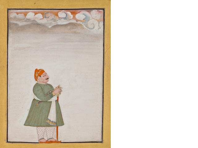 """Devgarh Prince Opaque watercolor and gold on paper Devgarh Dated 1811 """
