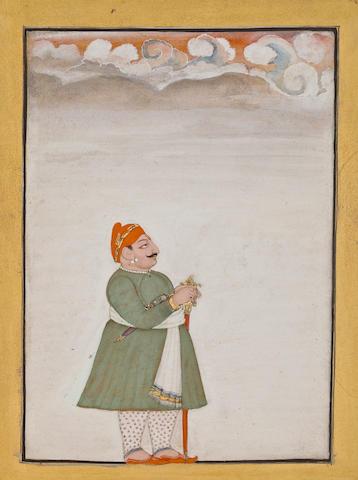 """""""Devgarh Prince Opaque watercolor and gold on paper Devgarh Dated 1811 """""""