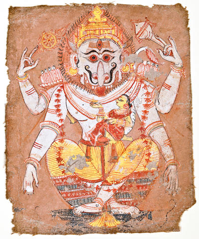"""Yoganarasimha Opaque watercolor on cloth Andhra Paradesh Late 18th century"""