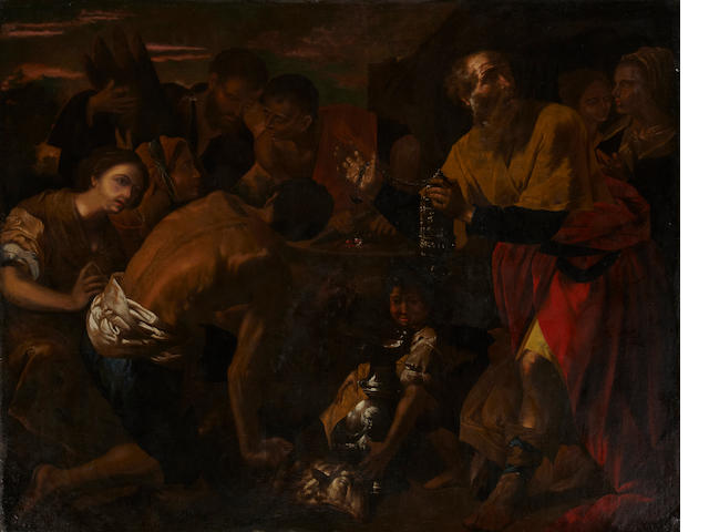Attributed to Agostino Beltrano * SEND TO BK * The congregation of Jerusalem bringing gifts 79 x 99in (200.7 x 251.5cm)